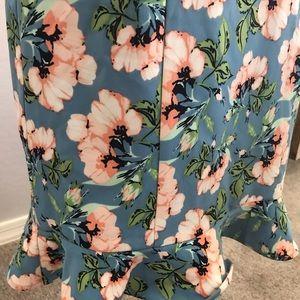 DownEast Skirts - Downeast floral pencil skirt ruffle hem